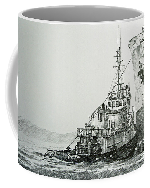 Tugs Coffee Mug featuring the drawing Tugboat Richard Foss by James Williamson