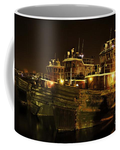 Tugboats Coffee Mug featuring the photograph Tugboats 1st Night Dec 2013 by Sharon Seaward