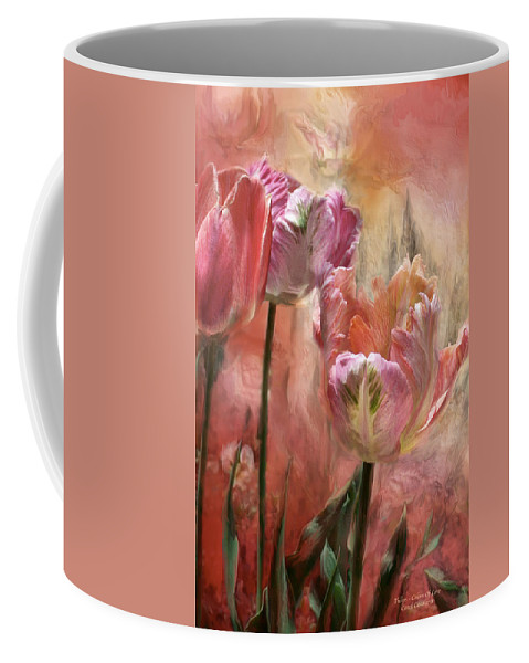 Tulips Coffee Mug featuring the mixed media Tulips - Colors Of Love by Carol Cavalaris