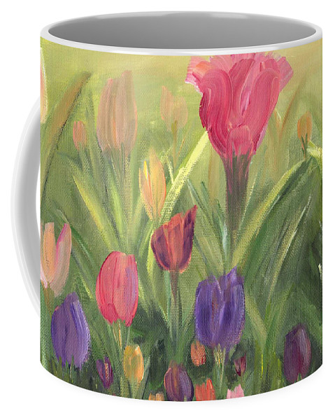 Floral Coffee Mug featuring the painting Tulips by Donna Blackhall
