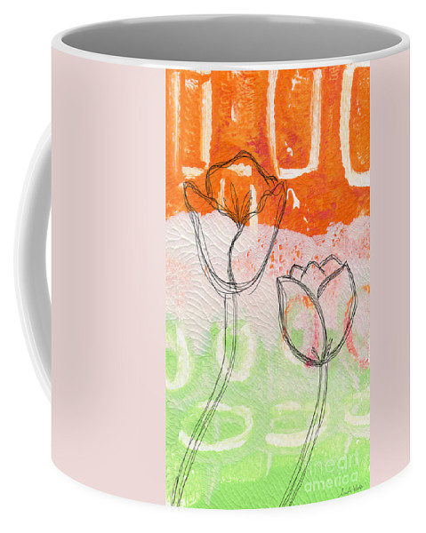 Abstract Coffee Mug featuring the mixed media Tulips by Linda Woods