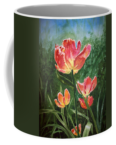 Tulips Coffee Mug featuring the painting Tulips On Fire by Irina Sztukowski