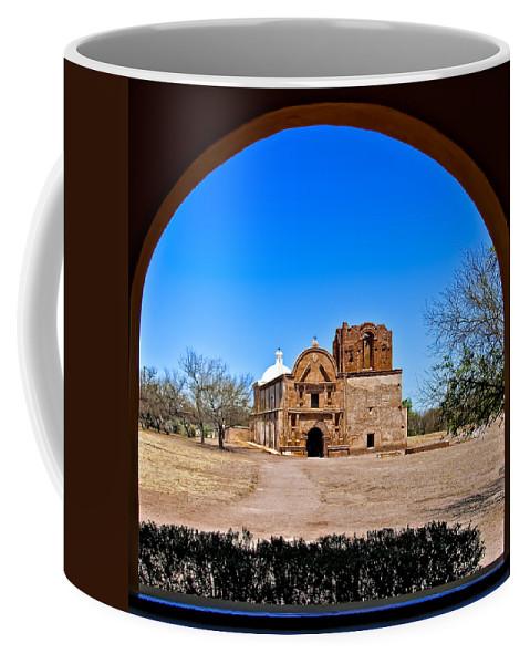 Arch Coffee Mug featuring the photograph Tumacacori by Maria Coulson