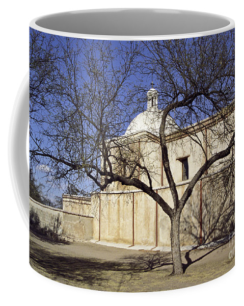 Mission Coffee Mug featuring the photograph Tumacacori With Tree by Kathy McClure