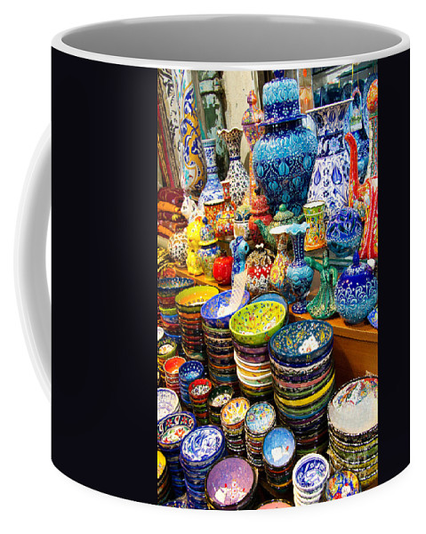 Grand Bazaar Coffee Mug featuring the photograph Turkish Ceramic Pottery 1 by David Smith