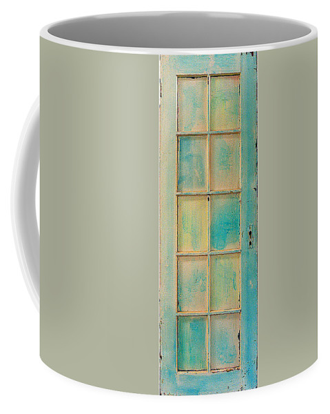 Painted Wooden Door Coffee Mug featuring the sculpture Turquoise And Pale Yellow Panel Door by Asha Carolyn Young