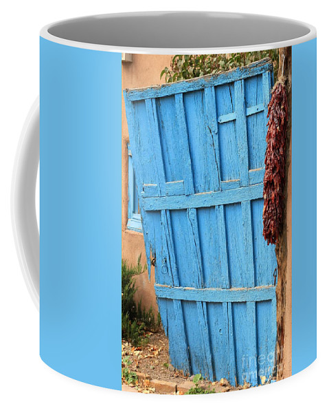 New Mexico Coffee Mug featuring the photograph Turquoise Door by Ashley M Conger