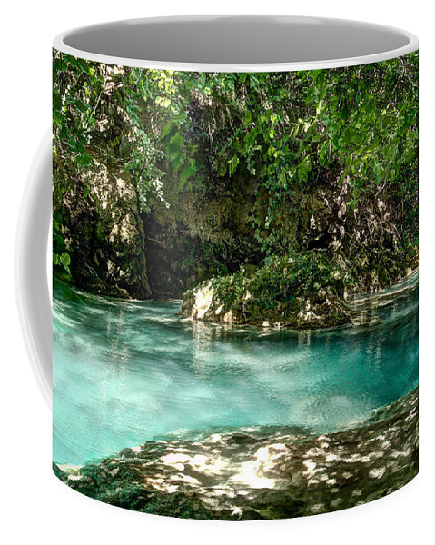 Forest Pond Coffee Mug featuring the photograph Turquoise Forest Pond On A Summer Day No3 by Weston Westmoreland
