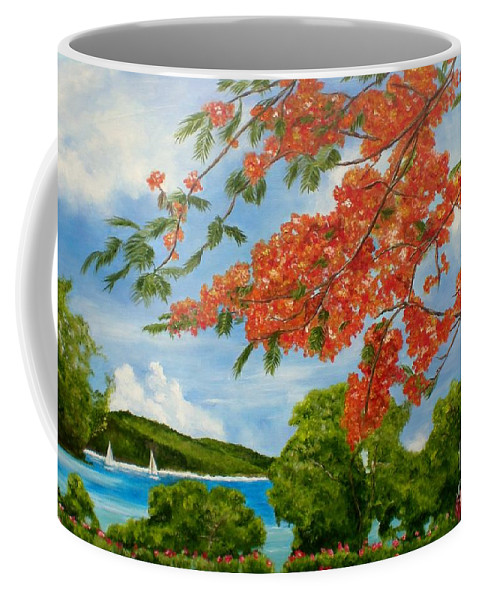 Turtle Bay Coffee Mug featuring the painting Turtle Bay Virgen Islands by Graciela Castro