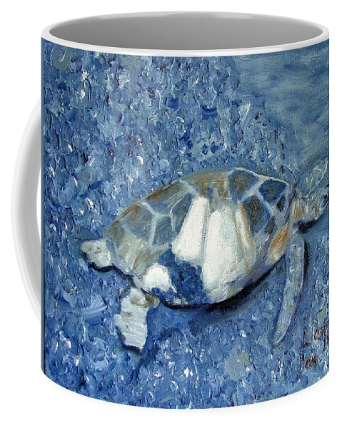Turtle Coffee Mug featuring the painting Turtle On Black Sand Beach by Laurie Morgan