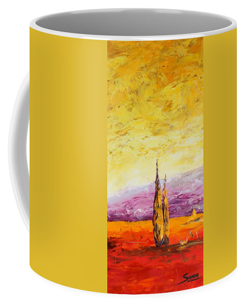 Trees Coffee Mug featuring the painting Tuscan Blast Crop by Andrew Sanan