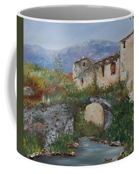 Tuscany Coffee Mug featuring the painting Tuscan Bridge by Andrew Sanan