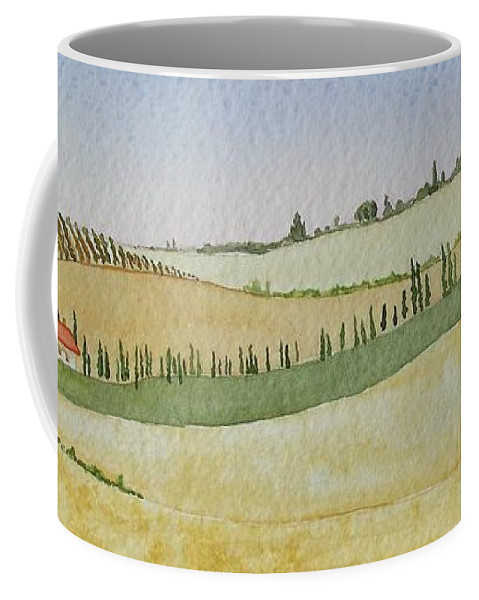 Italy Coffee Mug featuring the painting Tuscan Hillside Four by Mary Ellen Mueller Legault