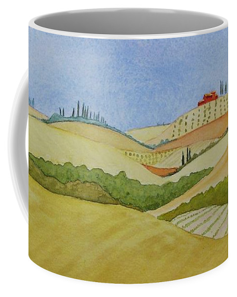 Italy Coffee Mug featuring the painting Tuscan Hillside Two by Mary Ellen Mueller Legault