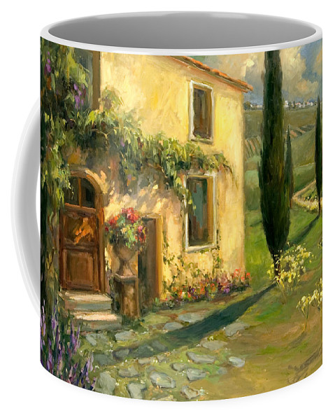 Landscape Coffee Mug featuring the painting Tuscan Spring by Allayn Stevens