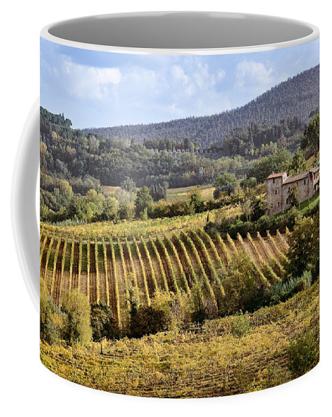 Tuscany Coffee Mug featuring the photograph Tuscan Valley by Dave Bowman