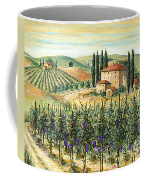 Tuscany Coffee Mug featuring the painting Tuscan Vineyard And Villa by Marilyn Dunlap