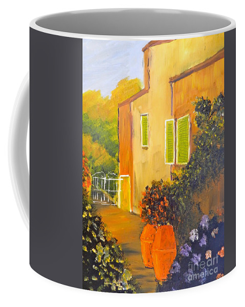 Tuscany Coffee Mug featuring the painting Tuscany Courtyard by Pamela Meredith