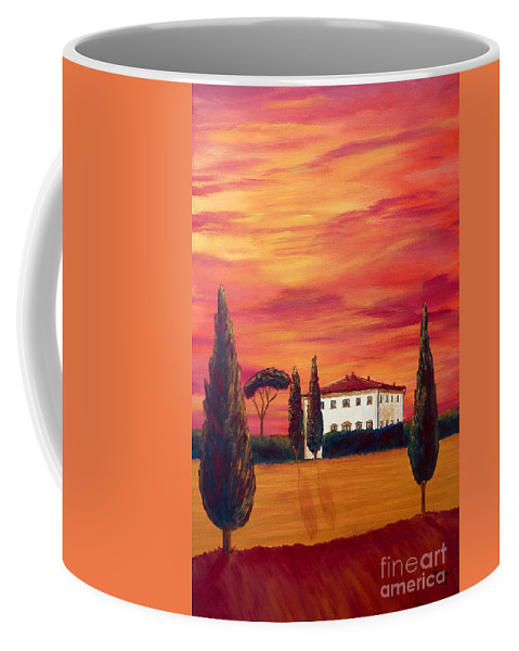 Tuscan Coffee Mug featuring the painting Tuscany In Red by Christine Huwer