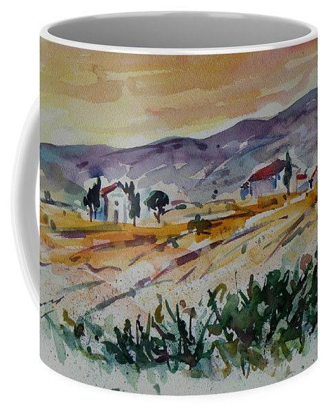 Landscape Coffee Mug featuring the painting Tuscany Landscape 1 by Xueling Zou