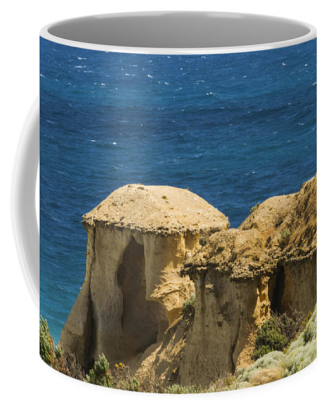 Great Ocean Road Australia Twelve Apostles Overlook Port Campbell National Park Southern Ocean Water Oceans Sea Seas Limestone Structures Rock Rocks Coastline Coastline Shoreline Shorelines Landscape Landscapes Landmark Landmarks Waterscape Waterscapes Coffee Mug featuring the photograph Twelve Apostles Overlook by Bob Phillips