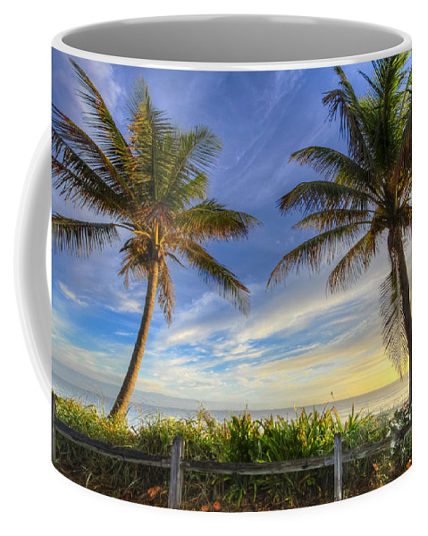 Clouds Coffee Mug featuring the photograph Twin Palms by Debra and Dave Vanderlaan