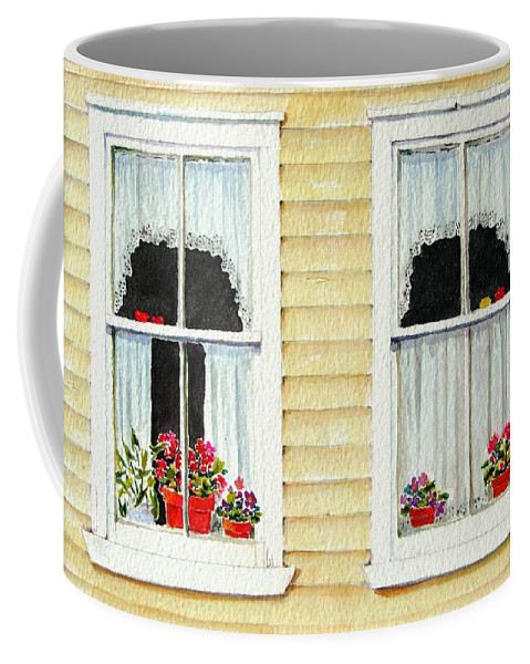 Windows Coffee Mug featuring the painting Twin Peeks by Mary Ellen Mueller Legault