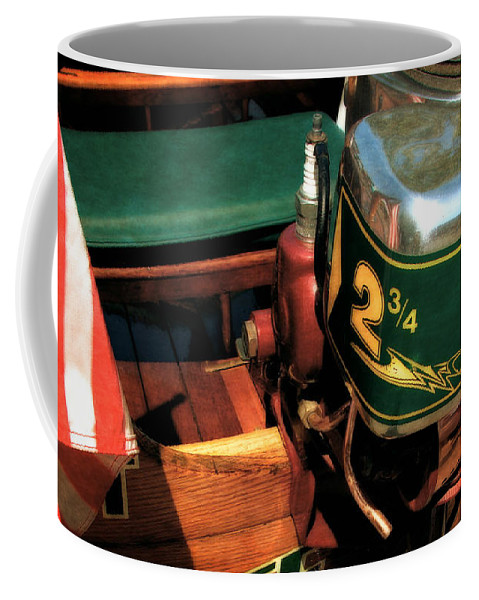Muncie Gear Company Coffee Mug featuring the photograph Two And Three Quarters Hp Muncie Outboard Motor by Michelle Calkins