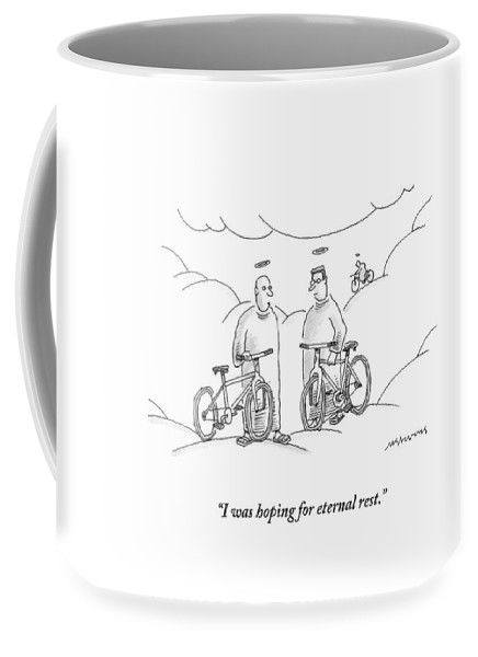 Angels Coffee Mug featuring the drawing Two Angels With Bicycles Converse. Another Angel by Mick Stevens