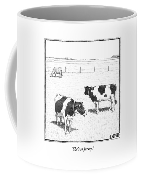 Cows Coffee Mug featuring the drawing Two Spotted Cows Looking At A Jersey Cow by Matthew Diffee