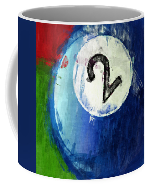 Two Coffee Mug featuring the digital art Two Ball Billiards Abstract by David G Paul