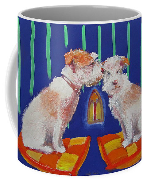 Puppy Coffee Mug featuring the painting Two Border Terriers Together by Charles Stuart