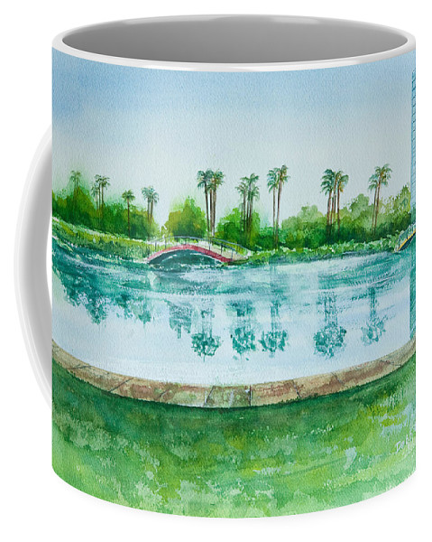 Watercolor Coffee Mug featuring the painting Two Bridges At Rainbow Lagoon by Debbie Lewis