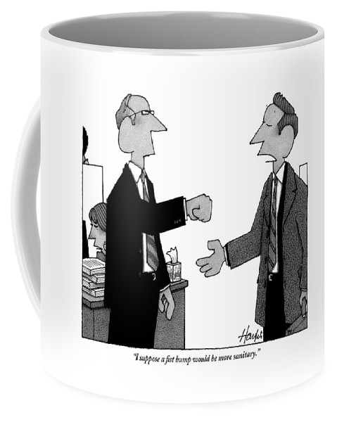 Handshake Coffee Mug featuring the drawing Two Business Men Stand Together by William Haefeli