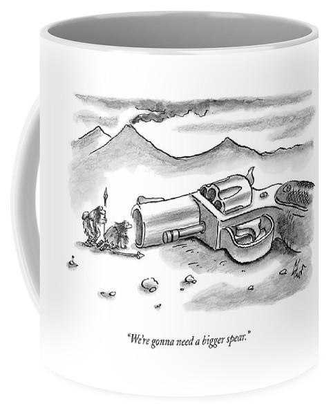 Gun Coffee Mug featuring the drawing Two Cavemen Looking Into The Barrel Of An by Frank Cotham