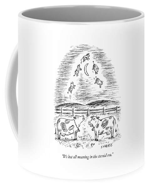 Cows Coffee Mug featuring the drawing Two Cows Comment On A Bunch Of Cows by David Sipress