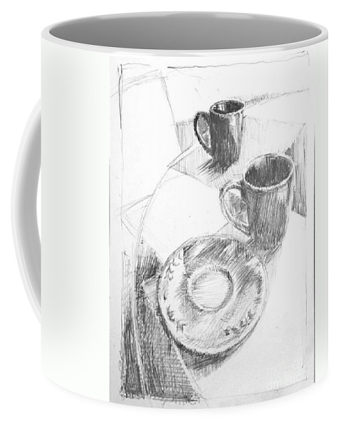 Drawing Coffee Mug featuring the drawing Two Cups And A Saucer by John Castell