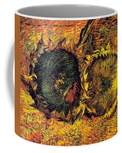 Two Cutted Sunflowers Coffee Mug featuring the digital art Two Cut Sunflowers by Vicent Van Gogh