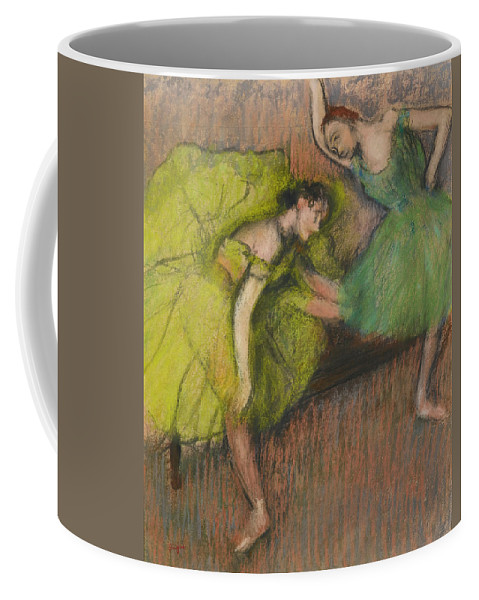 Edgar Degas Coffee Mug featuring the drawing Two Dancers In The Foyer by Edgar Degas