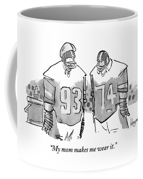 Two Football Players Are Talking To Each Other Coffee Mug