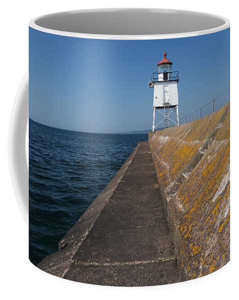 Two Harbors Coffee Mug featuring the photograph Two Harbors Mn Pier Light 11 by John Brueske