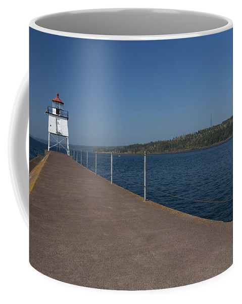 Two Harbors Coffee Mug featuring the photograph Two Harbors Mn Pier Light 12 by John Brueske