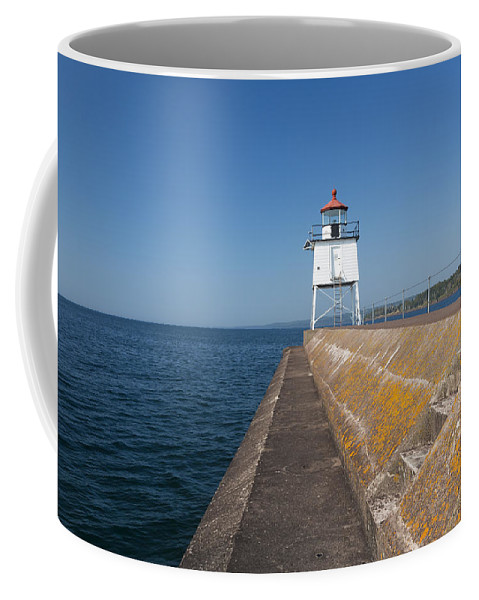 Two Harbors Coffee Mug featuring the photograph Two Harbors Mn Pier Light 8 by John Brueske