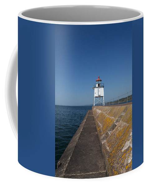 Two Harbors Coffee Mug featuring the photograph Two Harbors Mn Pier Light 9 by John Brueske