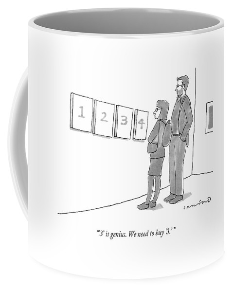 Modern Art Coffee Mug featuring the drawing Two Hip-looking People In A Gallery by Michael Crawford