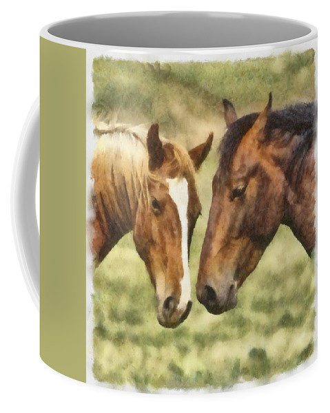 Horse Coffee Mug featuring the photograph Two Horses by Ingrid Smith-Johnsen