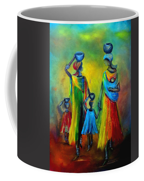 Mother And Child Coffee Mug featuring the painting Two Little Girls Carrying Water by Marietjie Henning