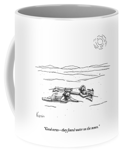 Thirst Coffee Mug featuring the drawing Two Men Are On Their Stomachs In A Desert. One by Zachary Kanin