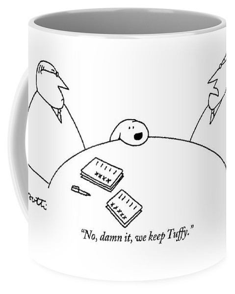 Dogs Coffee Mug featuring the drawing Two Men Are Seen Sitting At A Table With Papers by Charles Barsotti