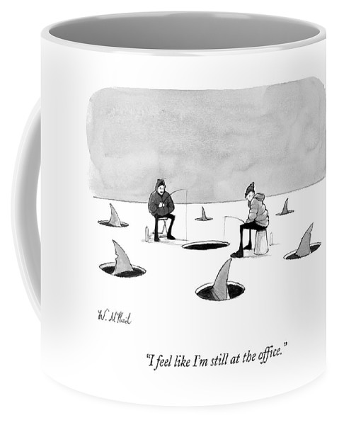 Cctk Ice Fishing Coffee Mug featuring the drawing Two Men Ice Fishing by Will McPhail